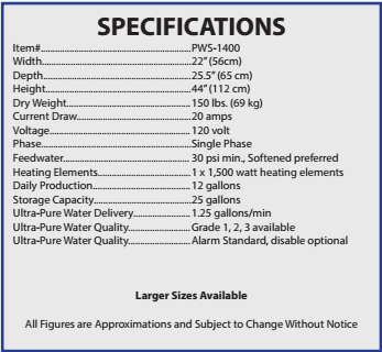 Specifications for the PWS-1400 Laboratory Water Distiller
