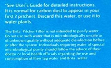 Brita Filter Disclaimer